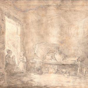 Jean-Honoré Fragonard - Mujer sentada y niña en la puerta. Dibujo de la Escuela Francesa del Siglo XVIII.