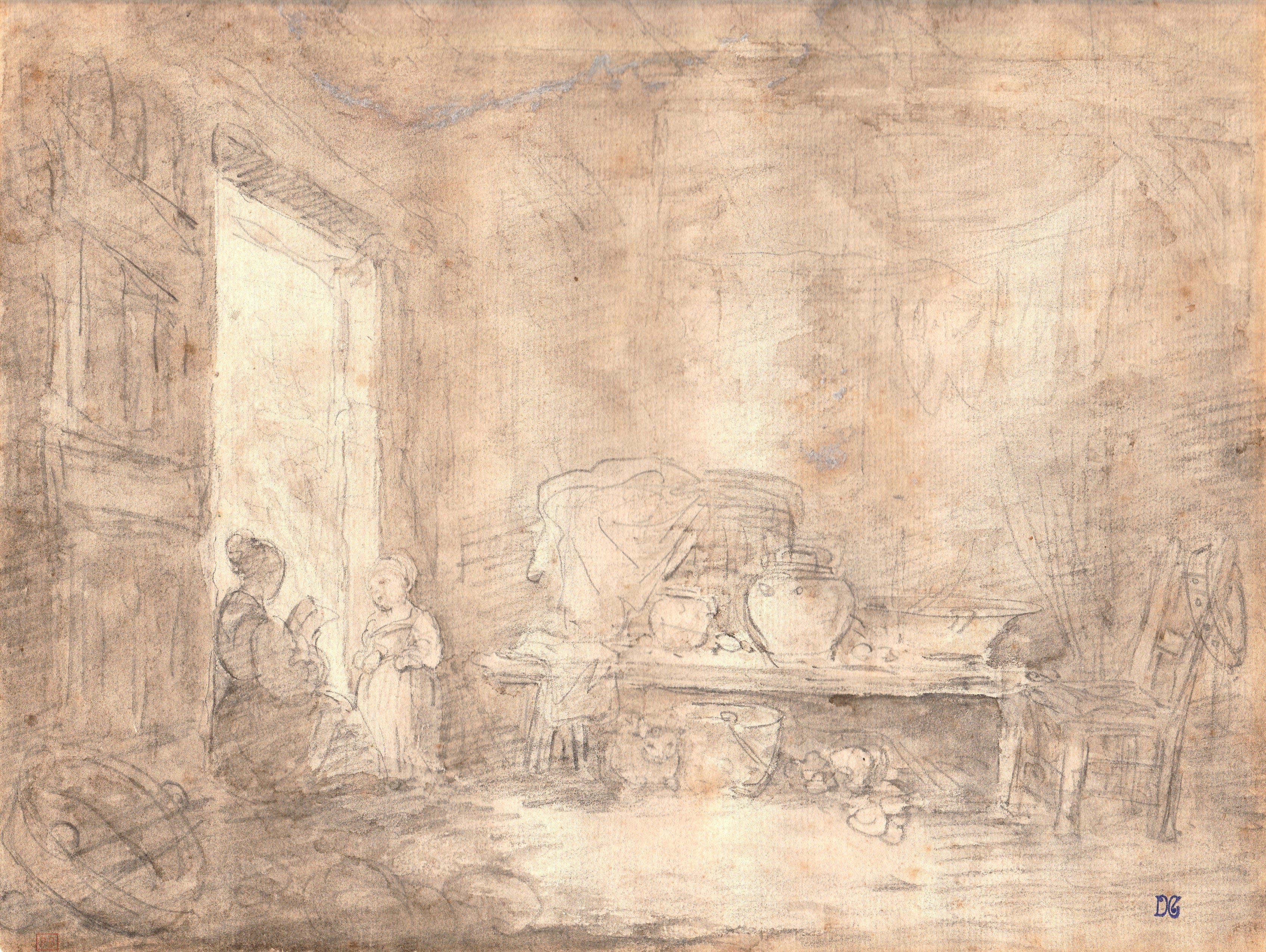 Jean-Honoré Fragonard – Mujer sentada y niña en la puerta
