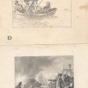 Pintor desconocido - Escenas de batallas (2). Dibujo de la Escuela Francesa del Siglo XIX.