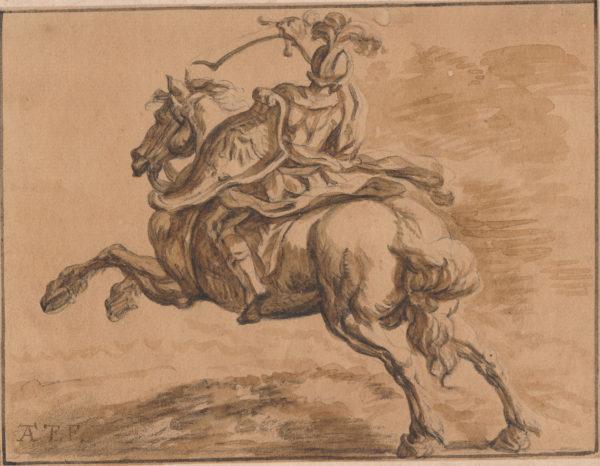 Antonio Tempesta - Soldado a caballo. Dibujo de la Escuela Italiana del Siglo XVI.