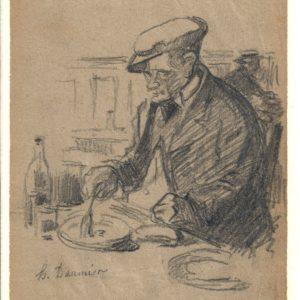 Honoré Daumier (Atribuido) - Personaje comiendo. Dibujo de la Escuela Francesa del Siglo XIX.