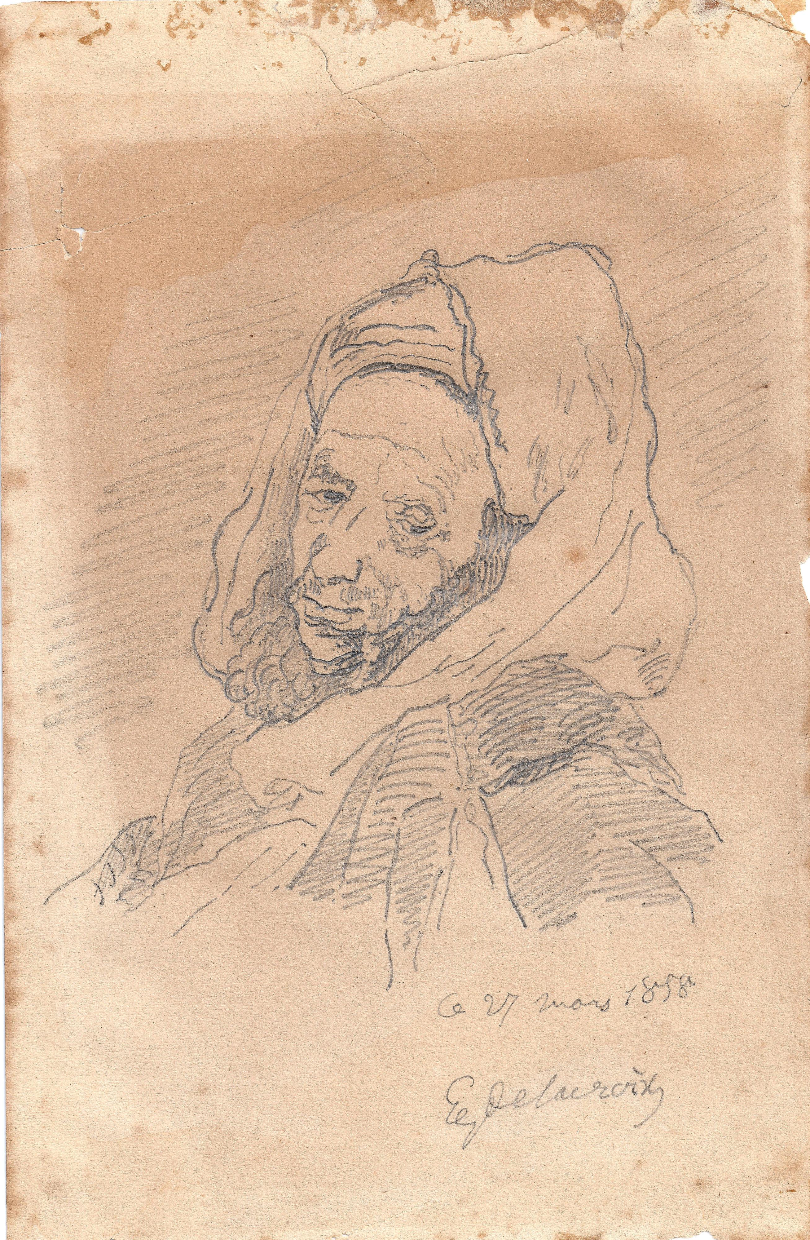 Eugene Delacroix – Moro de medio cuerpo