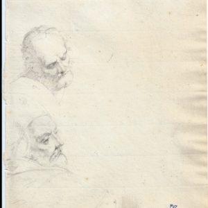Pintor desconocido - Estudio de cabezas (1). Dibujo de la Escuela Francesa del Siglo XIX.
