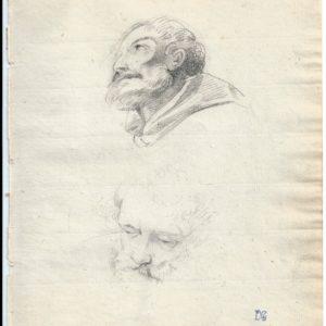 Pintor desconocido - Estudio de cabezas (2). Dibujo de la Escuela Francesa del Siglo XVIII