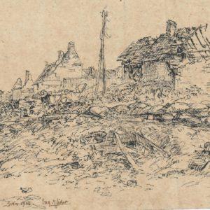 Eugène Veder - Barricadas d'Agny. Dibujo de la Escuela Francesa del Siglo XIX.