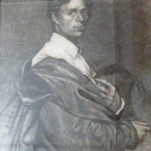 Pintor desconocido - Retrato de Ingres. Dibujo de la Escuela Francesa del Siglo XIX.