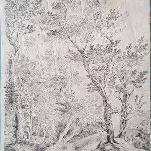 Jean Antoine Constantin d'Aix -Paisaje. Dibujo de la Escuela Francesa del Siglo XVIII.