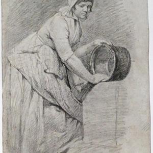 Jean Simeón Chardin - Lavandera. Dibujo de la Escuela Francesa del Siglo XVIII.