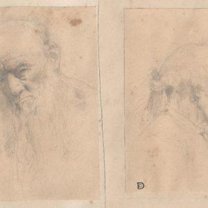 Pintor desconocido - Pareja de estudios de cabezas. Dibujo de la Escuela Francesa del Siglo XIX.