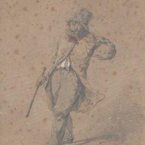 Honoré Daumier - Personaje. Dibujo de la Escuela Francesa del Siglo XIX.