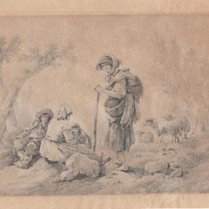 Jean Pillement - Escena rural con personajes. Dibujo de la Escuela Francesa del Siglo XVIII.
