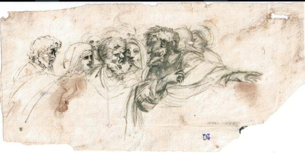 Agostino Caracci - Reunión de personajes. Dibujo de la Escuela Italiana del Siglo XVII.