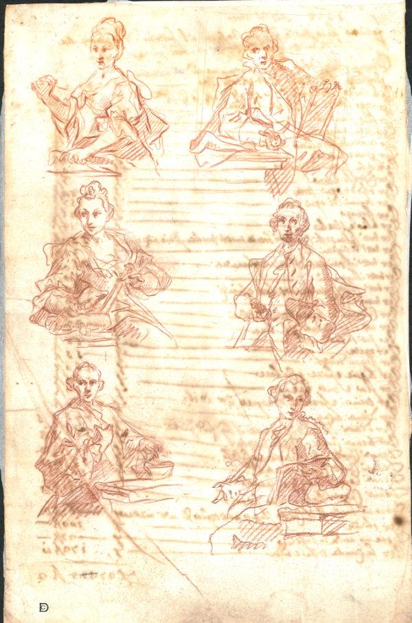 Anónimo veneciano - Estudio de personajes. Dibujo de la Escuela Italiana del Siglo XVII.