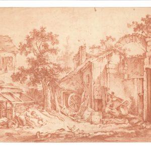 Hubert Robert (Atribuido) - Granja con niños. Dibujo de la Escuela Francesa del Siglo XVIII.