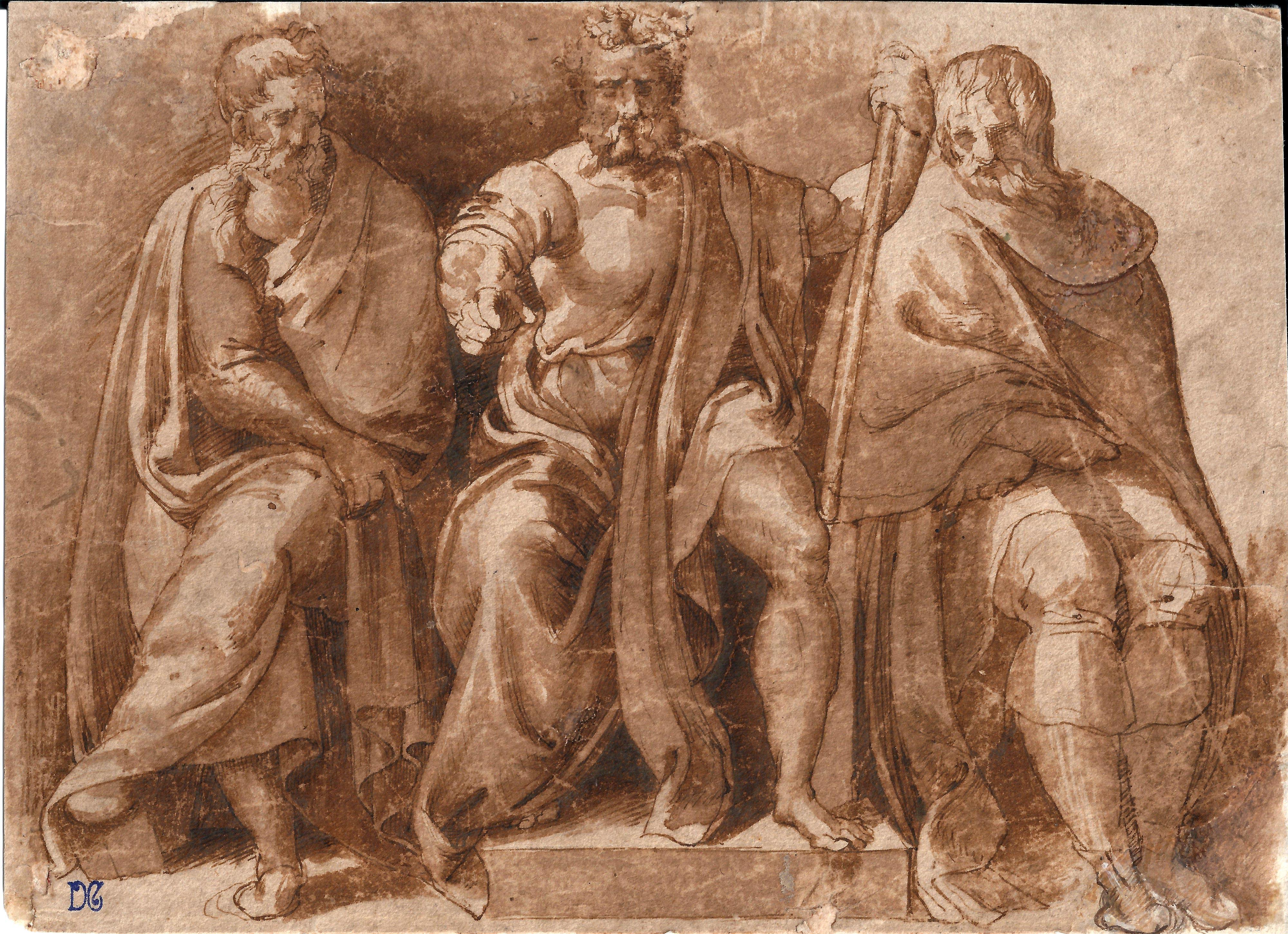 Baccio Bandinelli (Atribuido) - Tres sabios de la antigüedad. Dibujo de la Escuela Italiana del Siglo XVI.