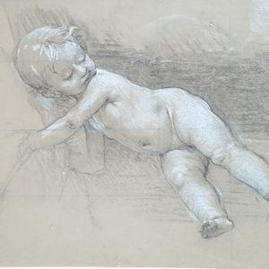 William-Adolphe Bouguereau (Atribuido) - Estudio amorcillo. Dibujo de la Escuela Francesa del Siglo XIX.