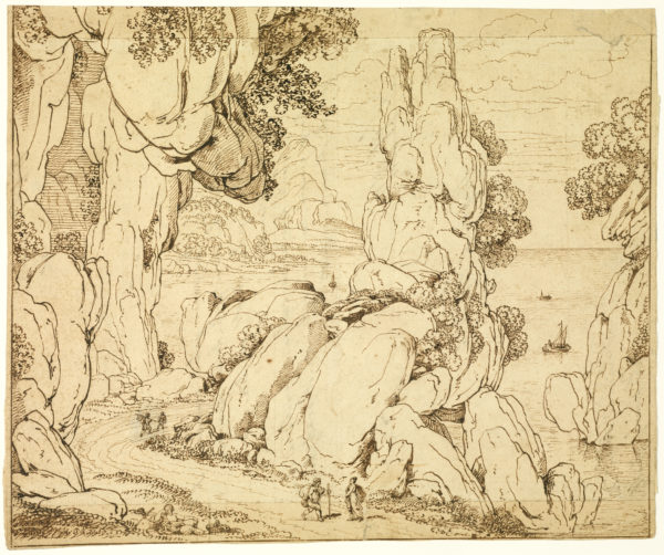 Antonio Canal (Canaletto) Atribuido - Paisaje imaginario. Dibujo de la Escuela Italiana del Siglo XVII.