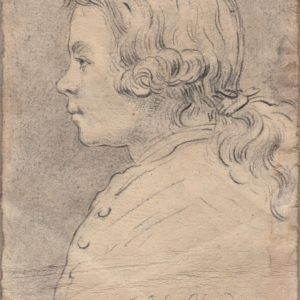 Jean Simeón Chardin - Joven de perfil. Dibujo de la Escuela Francesa del Siglo XVIII.