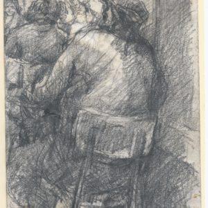 Honoré Daumier (atribuido) - Representación. Dibujo de la Escuela Francesa del Siglo XIX.