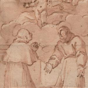Sebastien Bourdon - Virgen con niño en gloria con S. Fco y Sto Domingo. Dibujo de la Escuela Francesa del Siglo XVII.