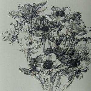 Theophile Steinlen - Ramo de flores. Dibujo de la Escuela Francesa del Siglo XIX.