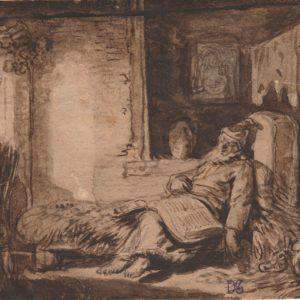Jean Pierre Norblin de la Gourdaine - Escena interior. Dibujo de la Escuela Francesa del Siglo XVIII.