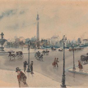 Giuseppe De Nittis - Place de la Concorde (París). Acuarela