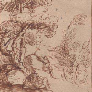 Giovanni Francesco Barbieri (Guercino) - Paisaje rural. Pluma