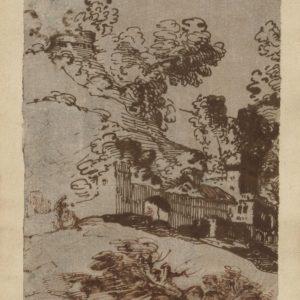 Giovanni Francesco Barbieri (Guercino) – Paisaje rural. Plima sobre papel