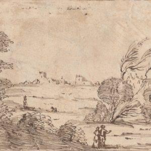 Giovanni Francesco Barbieri (Guercino) - Paisaje rural con personajes. Pluma sobre papel