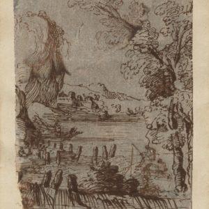 Giovanni Francesco Barbieri (Guercino) – Paisaje marino con personajes