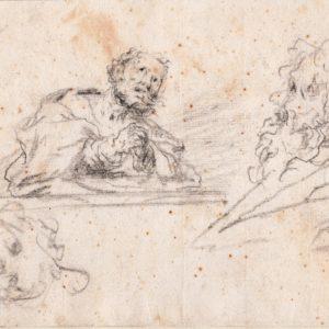 Jean-Honoré Fragonard (círculo) - San Pedro y estudios varios. Dibujo de la Escuela Francesa del Siglo XVIII.