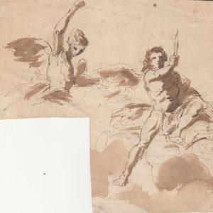 Jean-Honoré Fragonard - Estudio de ángeles. Dibujo de la Escuela Francesa del Siglo XVIII.