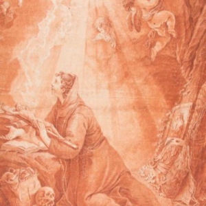 Giovanni Battista Langetti- Joven mujer vestida de monje. Dibujo de la Escuela Italiana del Siglo XVII.