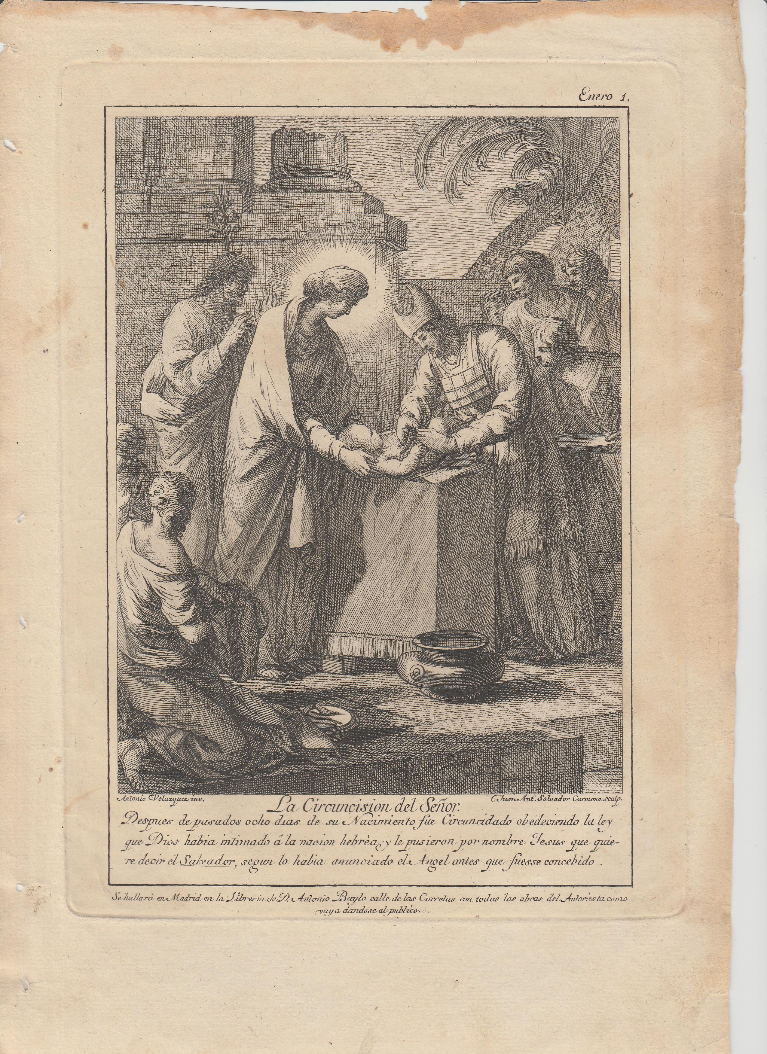 Antonio  Gonzalez  Velázquez / Juan Antonio  Salvador  Carmona – Estampas 1, 1a, 2, 2a, 4 y 5 Flos Sanctorum