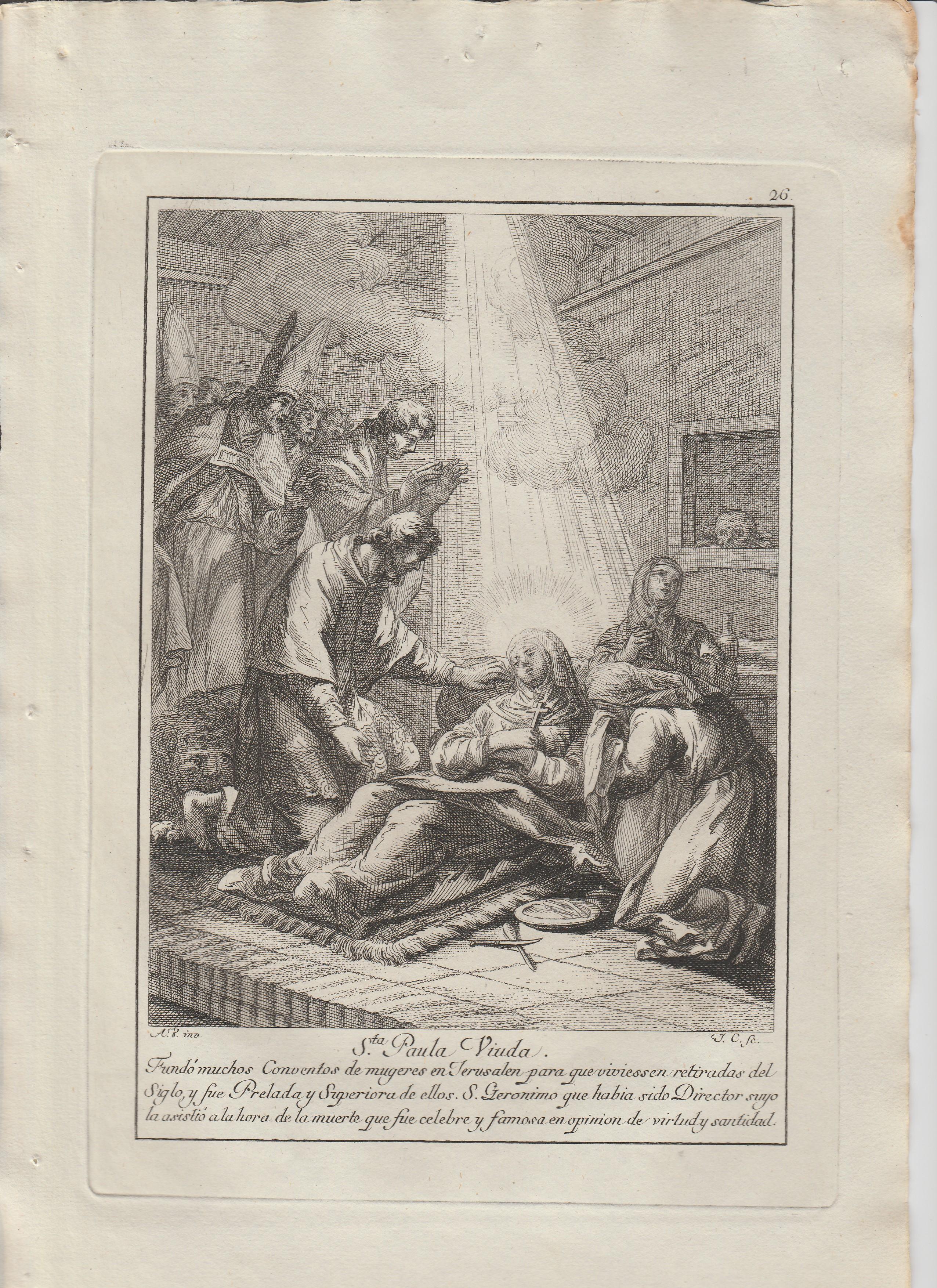 Antonio  Gonzalez Velázquez / Juan Antonio Salvador Carmona – Estampas Nº 26, 27 y 30  Flos Sanctorum