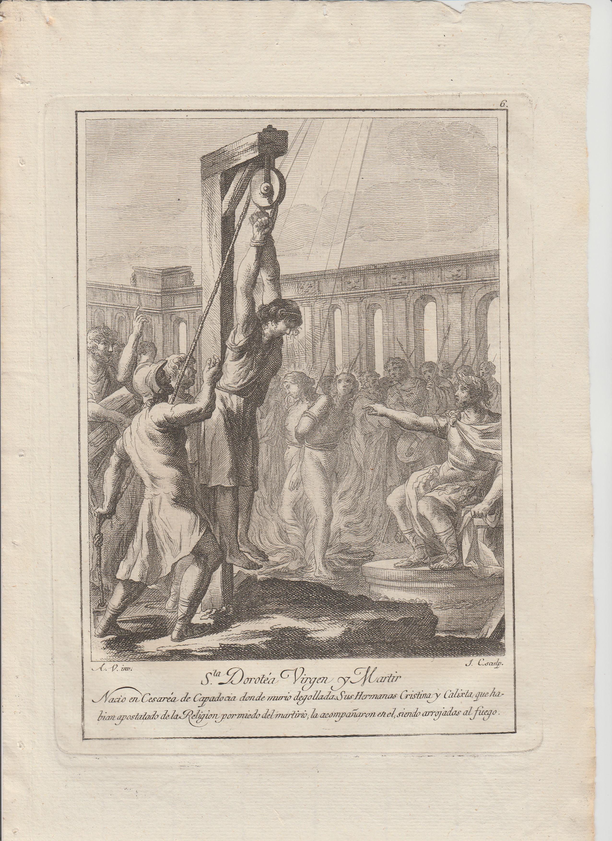 Antonio  Gonzalez  Velázquez / Juan Antonio  Salvador  Carmona – Estampas Nº 6, 7, 8, 8a, 10 y 11 Flos Sanctorum