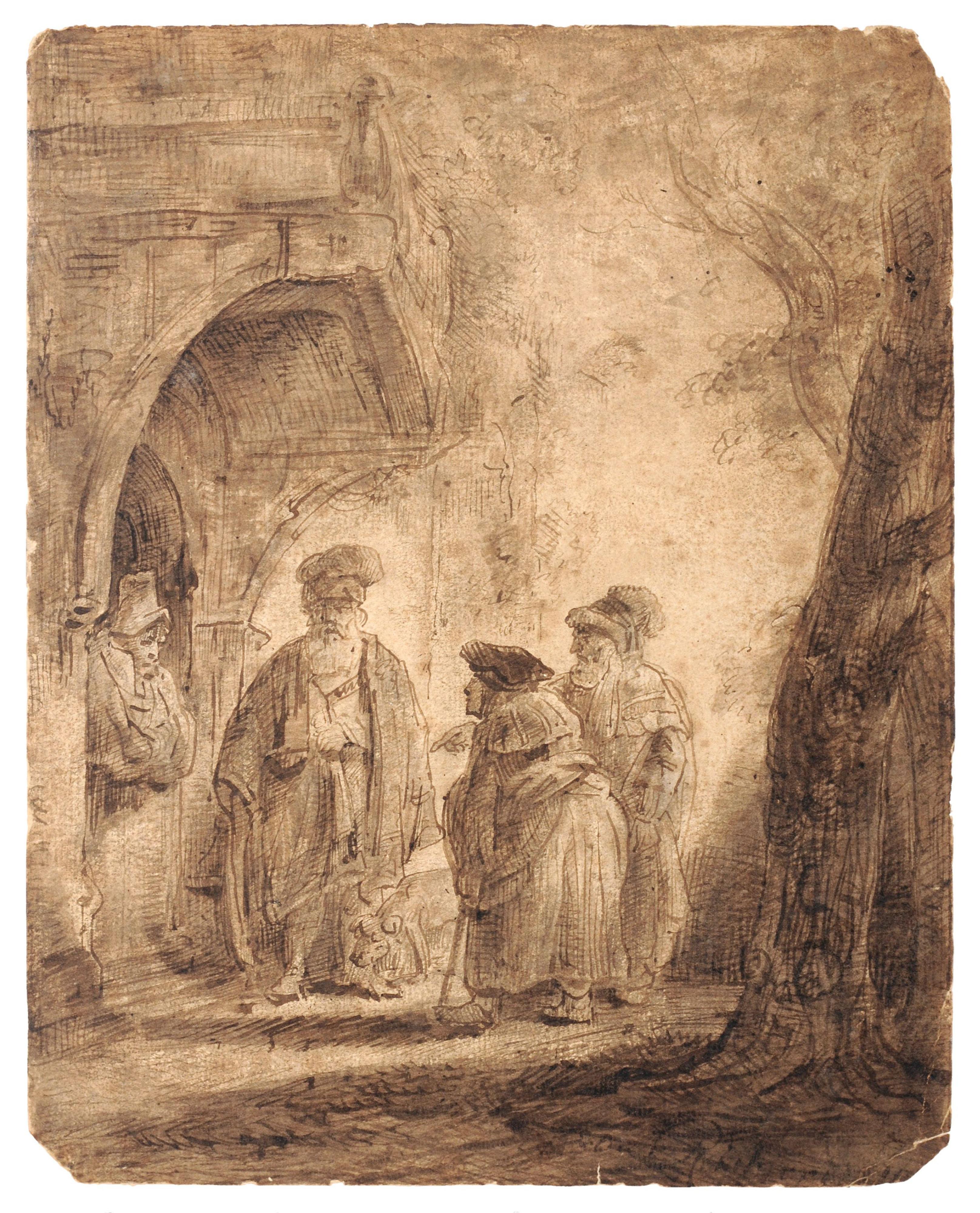 Rembrandt Harmenszoon van Rijn (Atribuido) – Jacob y Labán (Los tres orientales)